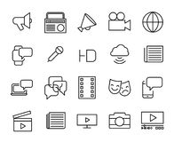 Colección simple de línea relacionada iconos de los medios de comunicación ilustración del vector
