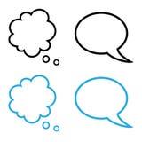 Colección simple de las burbujas del discurso y del pensamiento Imágenes de archivo libres de regalías