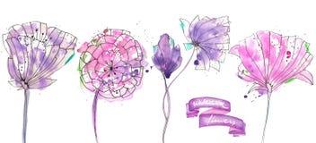Colección, sistema con rosa aislado de la acuarela y flores abstractas púrpuras