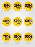 Colección soleada amarilla de la etiqueta de la venta Fotografía de archivo libre de regalías
