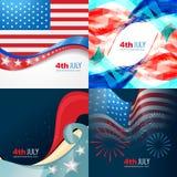 Colección 4ta del vector de Día de la Independencia del americano de julio stock de ilustración