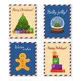 Colección tarjetas de felicitación de la Feliz Navidad linda y de la Feliz Año Nuevo Árbol de navidad, presentes, pan de jengibre stock de ilustración