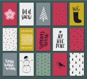 Colección tarjetas listas para utilizar lindas del arte del regalo de la Navidad de 15 texturas y del Año Nuevo Imágenes de archivo libres de regalías