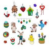 Colección tradicional de los símbolos de Pascua - sistema feliz del garabato de pascua stock de ilustración