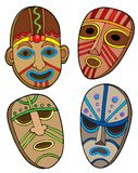 Colección tribal de las máscaras Imagen de archivo libre de regalías