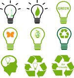 Colección verde de la imagen del símbolo de la energía Imagen de archivo libre de regalías