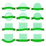 Colección verde de las etiquetas engomadas - ejemplo Fotografía de archivo