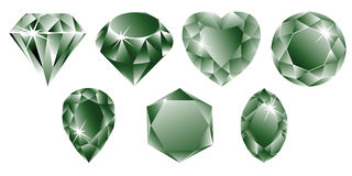 Colección verde de los diamantes Imagenes de archivo