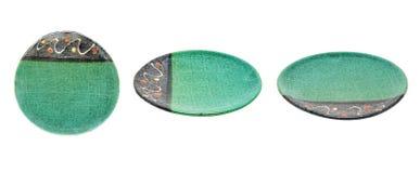 Colección verde vacía de la placa o del plato Aislado en el backgrou blanco Imagenes de archivo