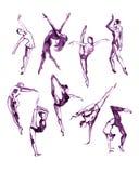 Colección violeta de la acuarela de gente contemporánea de la danza libre illustration