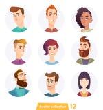 Colecci?n alegre del avatar de la gente Caras del usuario Estilo moderno de moda Dise?o de personaje de dibujos animados plano stock de ilustración