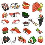 Colecci?n asi?tica de la comida Sushi Estilo del bosquejo Ilustraci?n drenada mano del vector Objetos aislados para el dise?o stock de ilustración