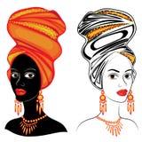 colecci?n Cabeza de la se?ora dulce En la cabeza de una muchacha afroamericana es una bufanda y un turbante brillantes La mujer e stock de ilustración