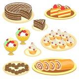 Colecci?n de dulces Invitaciones exquisitas, torta, helado, rollo, magdalenas, molletes, dulces Decoraci?n de la tabla festiva Ve stock de ilustración