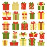 Colecci?n de las cajas de regalo aislada en el fondo blanco Decoraci?n del ` s de la Navidad y del A?o Nuevo Ejemplo del vector e libre illustration