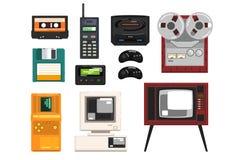 Colecci?n de t?cnica retra, casete de m?sica audio, registrador del carrete, radio port?til, paginador, TV, tetris, disquete libre illustration