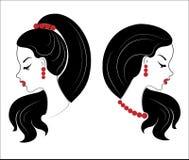 colecci?n Perfil de la silueta de la cabeza de una se?ora linda La muchacha muestra su peinado para el pelo medio y largo Conveni libre illustration