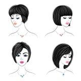 colecci?n Perfil de la silueta de una cabeza linda de la se?ora s La muchacha muestra su peinado para el pelo medio y largo Conve ilustración del vector