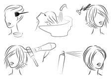 colecci?n Señora en un salón de belleza La muchacha hace su pelo Mujer a cortar, tinte, lavado, pelo del brushing, barniz Ilustra stock de ilustración