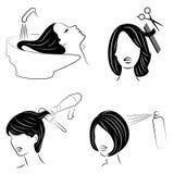 colecci?n Se?ora en un sal?n de belleza La muchacha hace su pelo Una mujer se lava el pelo, corta su pelo, seca su secador de pel libre illustration