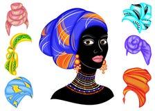 colecci?n Silueta de una cabeza de una se?ora dulce Un mant?n brillante, un turbante se ata en la cabeza de una muchacha afroamer libre illustration
