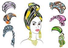 colecci?n Silueta de una cabeza de una se?ora dulce Un mant?n brillante, un turbante, atado a la cabeza de una muchacha afroameri libre illustration