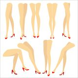 colecci?n Una imagen con las siluetas de piernas femeninas hermosas delgadas en zapatos de tac?n alto rojos Diversas posturas de  ilustración del vector