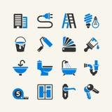 Colección casera del icono de las reparaciones del vector Imagen de archivo libre de regalías