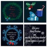 Colección con las tarjetas de Navidad Fotografía de archivo libre de regalías