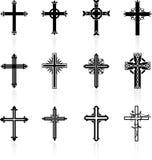 Colección cruzada religiosa del diseño Imagenes de archivo