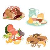Colección de alimentos del vector Foto de archivo