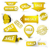 Colección de boletos amarillos de oro de la venta, sellos Foto de archivo libre de regalías