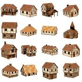 Colección de casas medievales Fotografía de archivo libre de regalías