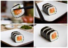 Colección de color salmón del sushi Imagen de archivo libre de regalías