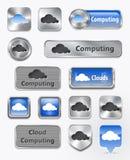 Colección de computación de la nube y de elementos de la nube Imagen de archivo