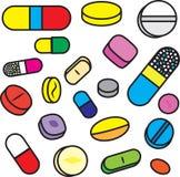 Colección de drogas y de píldoras brillantes del vector de la historieta Foto de archivo