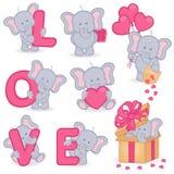 Colección de elefante lindo de la tarjeta del día de San Valentín Imagen de archivo