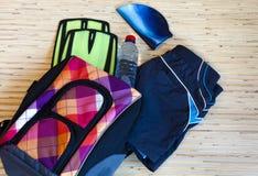 Colección de equipo de la natación Imagen de archivo libre de regalías