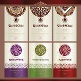 Colección de escrituras de la etiqueta del vino Foto de archivo