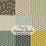 Colección de fondos inconsútiles en el tema de la cabeza del animal Fotos de archivo