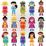 Colección de grupo diverso de muchachas del super héroe Imagen de archivo