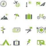 Colección de iconos para el viaje, el turismo y la reconstrucción activa. Imagen de archivo
