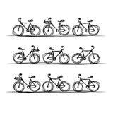 Colección de la bicicleta, bosquejo para su diseño Imagen de archivo libre de regalías