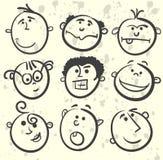 Colección de la historieta de la ilustración de la cara Fotografía de archivo libre de regalías