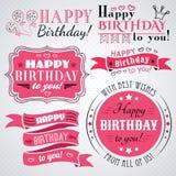 Colección de la tarjeta de felicitación del feliz cumpleaños en día de fiesta Imágenes de archivo libres de regalías