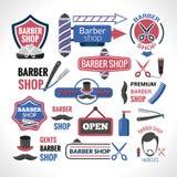 Colección de las etiquetas de las muestras de los símbolos de la peluquería de caballeros Fotografía de archivo