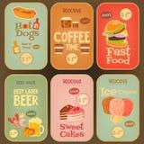 Colección de las etiquetas engomadas de la comida Foto de archivo