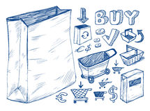 Colección de los doodles que hace compras Foto de archivo