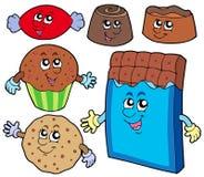 Colección de los dulces del chocolate Imagen de archivo