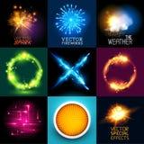 Colección de los efectos luminosos del vector Imagen de archivo libre de regalías
